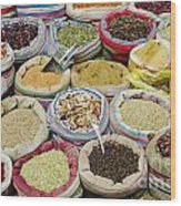 Mixed Spices In Market Of Cairo Egypt Wood Print