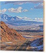 Moab Fault Medium Panorama Wood Print by Adam Jewell