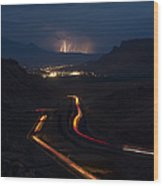 Moab Storm Wood Print by Adam Romanowicz