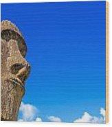 Moai And Blue Sky Wood Print