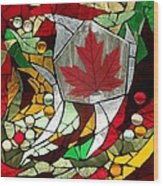 Mosaic  Stained Glass - Canadian Maple Leaf Wood Print