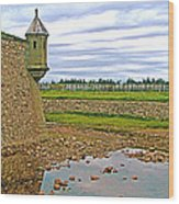 Moat And Wall Around Fortress In Louisbourg Living History Museum-ns Wood Print