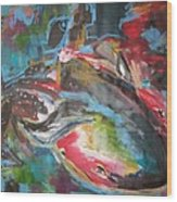 Mobie Joe The Whale-original Abstract Whale Painting Acrylic Blue Red Green Wood Print