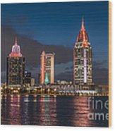 Mobile Alabama Skyline Wood Print