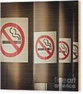 Mobile Photography Toned Row Of No Smoking Signs Wood Print