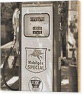 Mobilgas Special - Tokheim Pump  - Sepia Wood Print by Mike McGlothlen