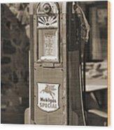 Mobilgas Special - Wayne Pump - Sepia Wood Print by Mike McGlothlen