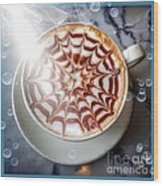 Mocha Lattee Bubbles  Wood Print