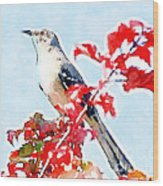 Mockingbird In The Leaves - Watercolor Wood Print