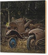 Model A Bodies And One Blue Wheel Wood Print