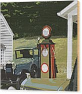 Model A Ford And Old Gas Station Illustration  Wood Print