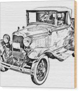 Model A Ford Roadster Antique Car Illustration Wood Print