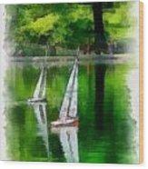 Model Boat Basin Central Park Wood Print