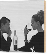 Man Gazing At Woman Sipping Wine Wood Print