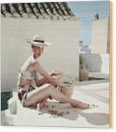 Model Wearing A Calypso Patterned Bikini Wood Print