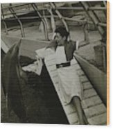 Model Wearing A Cannon Outfit By A Dolphin Wood Print