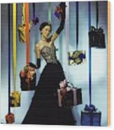 Model Wearing An Evening Gown Among Gifts Wood Print