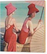 Models At A Beach Wood Print
