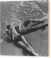 Models Embracing On A Beach Wood Print