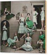 Models In Various Green Dresses Wood Print