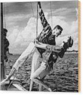 Models Wearing A Bennett Shirts On A Sailboat Wood Print