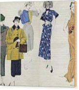 Models Wearing Schiaparelli Wood Print