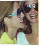 Models Wearing Sunglasses Wood Print