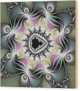 Modern Abstract Fractal Art Metallic Colors Square Format Wood Print