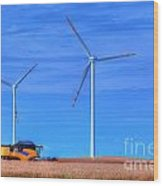Modern Agriculture And Wind Turbines Wood Print