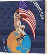 Modern American Veterans Day Greeting Card Wood Print