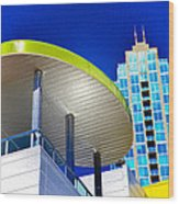 Modern Architecture With Blue Sky Wood Print