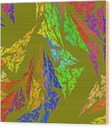 Modern Art Abstract Fractal Green Background Wood Print