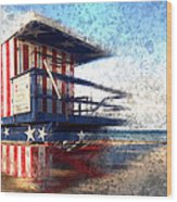 Modern-art Miami Beach Watchtower Wood Print by Melanie Viola