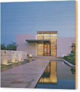 Modern Building With Pool At Dusk Wood Print