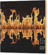 Modern Fireplace Fire Reflected In Water Feature No.5 Wood Print