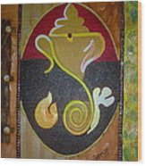 Mixed Media Ganesha Wood Print