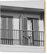 modern pvc sun shutter blinds on balcony doors and windows of house in tacoronte Tenerife Canary Islands Spain Wood Print