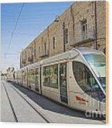 Modern Tram In Jerusalem Israel Wood Print