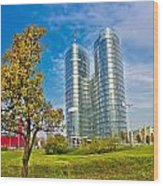 Modern Twin Tower In City Of Zagreb Wood Print