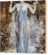 Modern Vintage Lady In Blue Wood Print