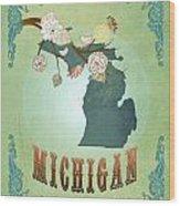 Modern Vintage Michigan State Map  Wood Print