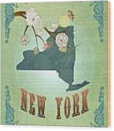 Modern Vintage New York State Map  Wood Print