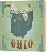 Modern Vintage Ohio State Map  Wood Print