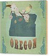 Modern Vintage Oregon State Map  Wood Print