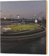 Modern Woodmen Park At Night Wood Print