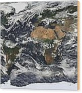 Modis World Map Wood Print
