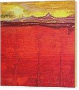 Mojave Dawn Original Painting Wood Print
