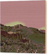 Mojave Desert In Mauve Wood Print by Sharon McLain