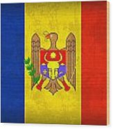 Moldova Flag Vintage Distressed Finish Wood Print