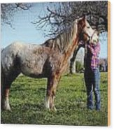 Molly And Her Horse  Wood Print